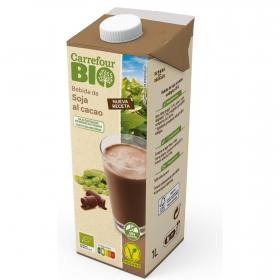 Bebida de soja sabor chocolate con calcio ecológica Carrefour Bio sin gluten brik 1 l.