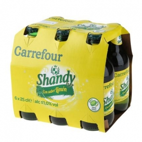 Cerveza Carrefour Shandy con limón pack de 6 botellas de 25 cl.