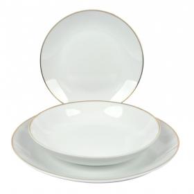 Vajilla de Porcelana Ricard Camarena Filo Oro 18 pzas - Blanco