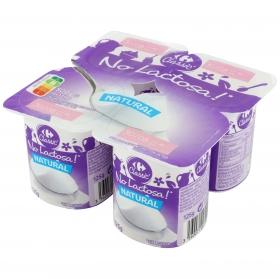 Yogur natural Carrefour No Lactosa pack de 4 unidades de 125 g.