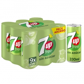 Refresco de lima-limón 7UP con gas sin azúcar pack de 9 latas de 33 cl.