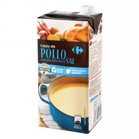 Caldo de pollo contenido reducido en sal Carrefour sin gluten 1 l.