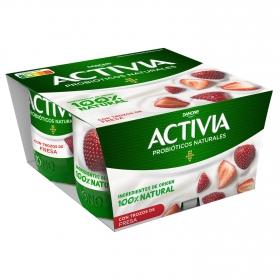 Yogur bífidus con fresa Danone Activia pack de 4 unidades de 120 g.