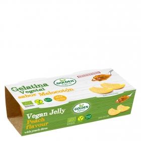 Gelatina de melocotón con trozos ecológica Golden Organic pack 2 unidades de 140 g.