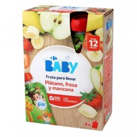 Preparado de plátano con fresa y manzana desde 12 meses sin azúcar añadido Carrefour Baby sin gluten pack de 4 bolsitas de 120 g.