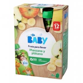 Preparado de manzana y plátano desde 12 meses Carrefour Baby sin gluten pack de 4 bolsitas de 120 g.