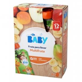 Preparado de multifrutas desde 12 meses Carrefour Baby sin gluten pack de 4 bolsitas de 120 g.