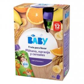 Preparado de plátano con naranja y cereales desde 12 meses Carrefour Baby pack de 4 bolsitas de 120 g.
