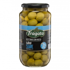 Aceitunas verdes manzanilla con hueso sabor suave Fragata 595 g.
