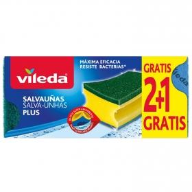 Estropajo Salvauñas Antibacterias VILEDA 3 ud  - Verde
