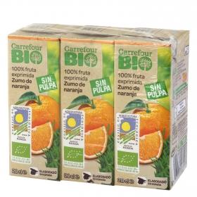 Zumo de naranja ecológico Carrefour Bio exprimido pack de 3 briks de 20 cl.