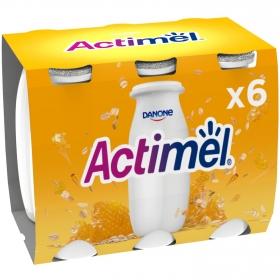Yogur L.Casei líquido con jalea real y avena Danone Actimel pack de 6 unidades de 100 g.