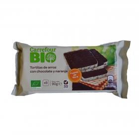 Tortitas de arroz con chocolate y naranja ecológicas Carrefour Bio sin gluten 90 g.
