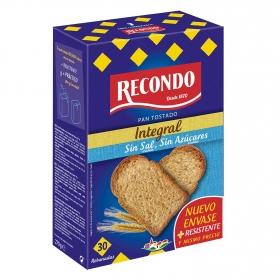 Pan tostado integral sin sal y sin azúcar añadidos Recondo 270 g.