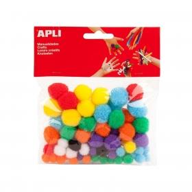 Pompones de Colores y Tamaños Surtidos 78 uds