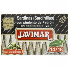 Sardinillas con pimiento de padrón en aceite de oliva Javimar 88 g.