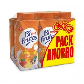 Zumo tropical 0% materia grasa Bifrutas sin gluten 6 briks de 330 ml.
