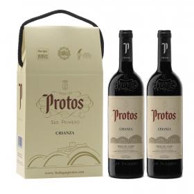 Vino D.O. Ribera del Duero Protos tinto crianza pack de 2 botellas de 75 cl.