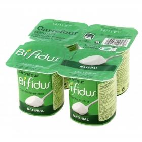 Yogur bífidus natural Carrefour pack de 4 unidades de 125 g.