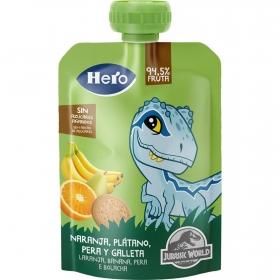 Preparado de naranja, plátano y galleta Hero Nanos bolsita de 100 g.
