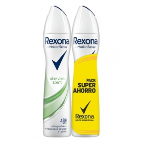 Desodorante en spray duplo aloe vera Motion Sense Rexona 200 ml.