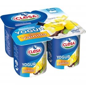 Yogur de vainilla Clesa pack de 4 unidades de 125 g.