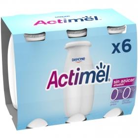 Yogur L.Casei desnatado líquido sin azucar añadido natural Danone Actimel pack de 6 unidades de 100 g.