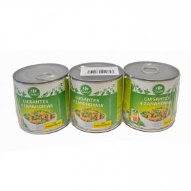 Guisantes con Zanahoria Carrefour pack de 3 unidades de 130 g.