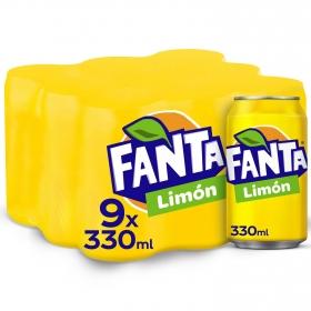 Refresco de limón Fanta con gas pack de 9 latas de 33 cl.