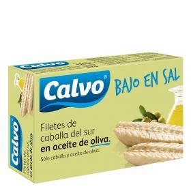 Filetes de caballa del sur en aceite de oliva bajo en sal Calvo 82 g.