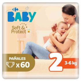 Pañales soft&protect Carrefour Baby T2 (3kg.-6kg.) 60 ud.