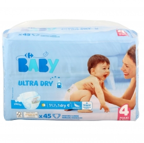 Pañales ultra dry Carrefour Baby T4 (7kg.-18kg.) 45 ud.