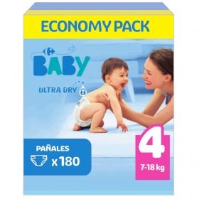 Pañales ultra dry Carrefour Baby T4 (7kg.-18kg.) 180 ud.