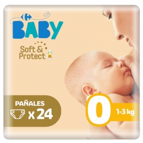 Pañales soft&protect Carrefour Baby T0 (1kg.-3kg.) 24 ud.