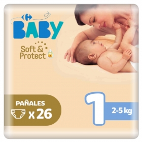 Pañales soft&protect Carrefour Baby T1 (2kg.-5kg.) 26 ud.