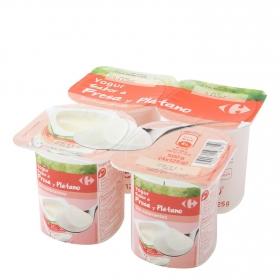 Yogur de fresa y plátano Carrefour pack de 4 unidades de 125 g.