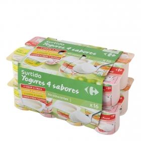 Yogur de fresa, de macedonia, de limón y de fresa-plátano Carrefour pack de 16 unidades de 125 g.