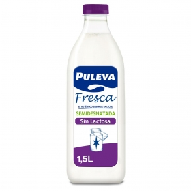 Leche semidesnatada fresca Puleva sin lactosa botella 1,5 l.