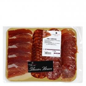 Tabla 3 ibéricos de cebo loncheado: lomo 50% raza ibérica, salchichón y chorizo Juan Luna 150 g