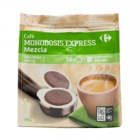 Café mezcla express monodosis Carrefour 14 unidades de 7 g.