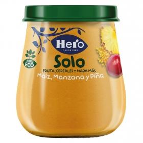 Tarrito de maíz, manzana y piña ecológico Hero Solo 120 g.