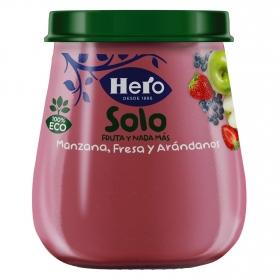 Tarrito de manzana, fresa y arándanos ecológico Hero Solo 120 g.