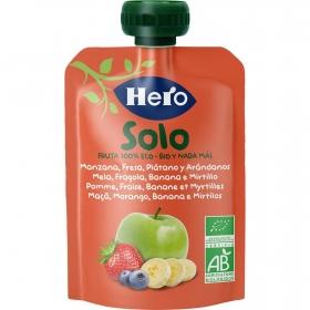 Preparado de manzana, fresa y plátano ecológica Hero Solo bolsita de 100 g.