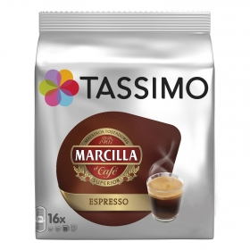 Café espresso en cápsulas Marcilla Tassimo 16 unidades de 7,4 g.