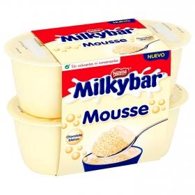 Mousse de chocolate blanco Nestlé Milkibar pack de 4 unidades de 55 g.