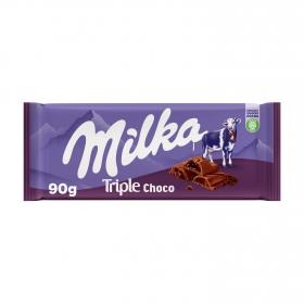 Chocolate con leche relleno de triple chocolate Milka 90 g.