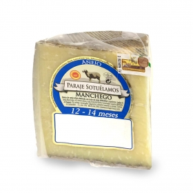 Queso puro de oveja D.O. Manchego 14 meses curación Paraje Sotuelamos cuña 1/8, 275 g