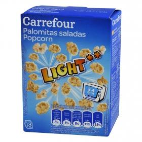 Palomitas saladas para microondas Carrefour pack de 3 bolsas de 90 g.
