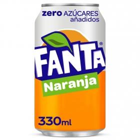 Refresco de naranja Fanta con gas zero lata 33 cl.