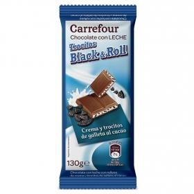 Chocolate con leche y relleno de trocitos de galleta al cacao Carrefour 130 g.